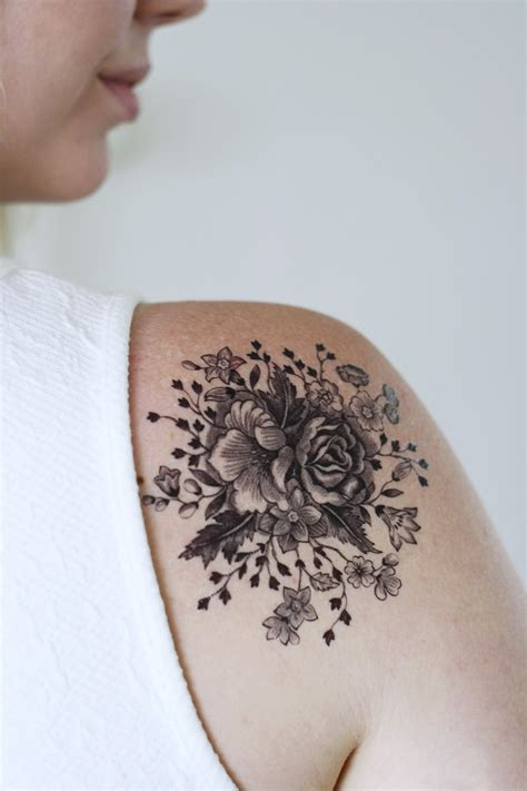 white temporary tattoo large vintage black and white floral temporary
