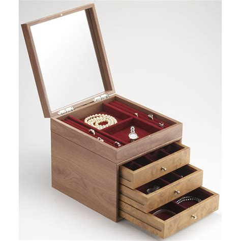 Jewelry Containers For Drawers by Three Drawer Wood Jewelry Box And Tray In Jewelry Boxes