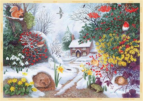 printable winter jigsaw puzzles falcon deluxe winter hedgerow jigsaw puzzle 500 pieces pdk
