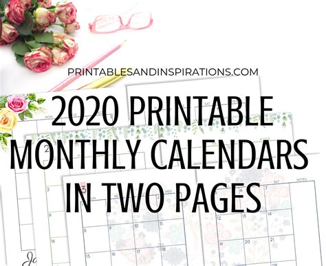 monthly calendar  page spread  printable printables  inspirations