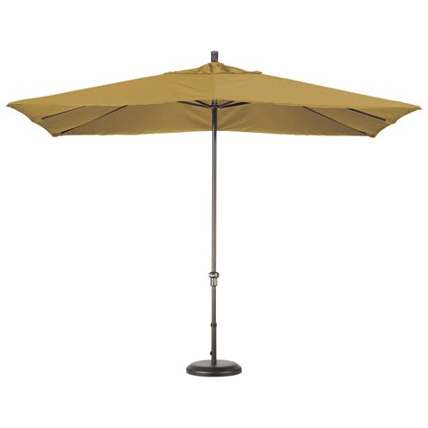 cream fabric outdoor umbrella with rounded metal base of