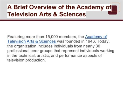 courtesy of the academy of television arts sciences a brief overview of the academy of television arts sciences