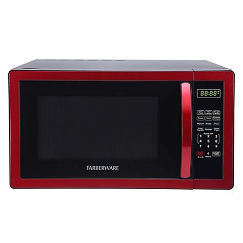 bed bath beyond microwave buy faberware 174 classic 1 1 cubic foot microwave oven in metallic red from bed bath