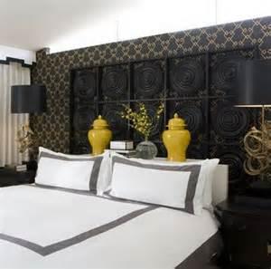 Black and yellow bedroom eclectic bedroom