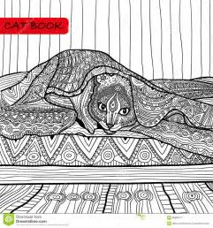 coloring book adults zentangle cat book cat bed stock vector image 65895177
