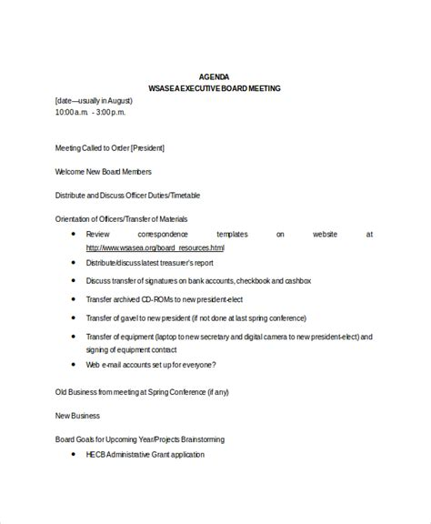 board meeting agenda template board meeting agenda sles board meeting agenda