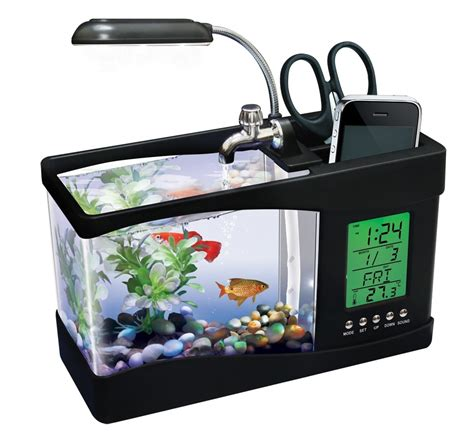 Fish Tank Desk Organizer Usb Desktop Aquarium Holds Real Fish Along With Your Iphone
