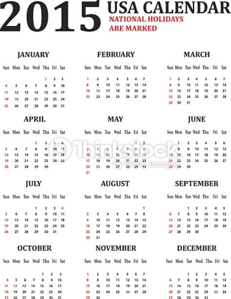 Calendario De Usa 2015 Simple Usa Calendar For 2015 American Holidays Are Marked