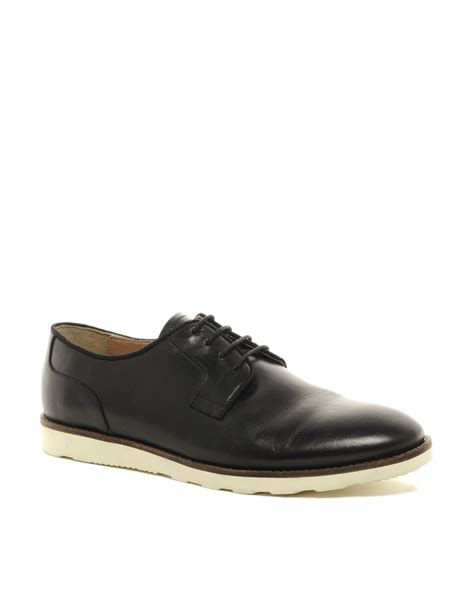 asos asos derby shoes with wedge sole in black for lyst