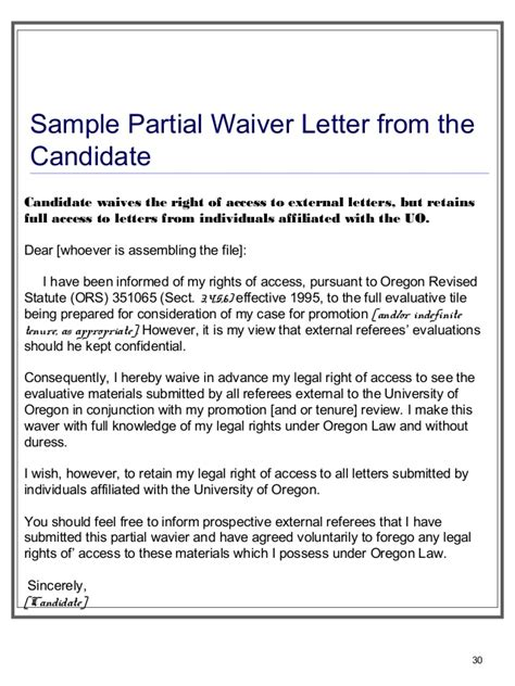 Character Waiver Letter Preparing Tenure Files For Dept Heads Ofcmanagers Staff Jan 15 2013