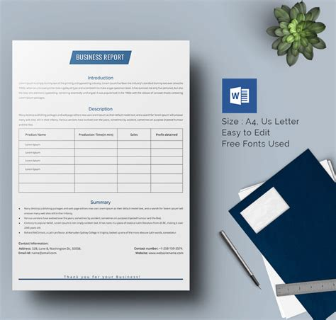 25 business report template free sle exle