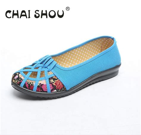 shoes for elderly chaishou shoe with flats bottom summer slip