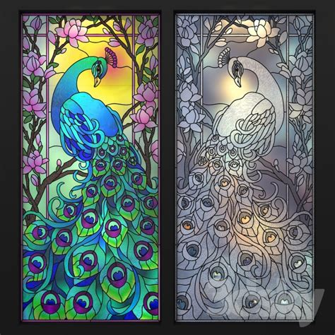 peacock stained glass l 3d models doors stained glass peacock