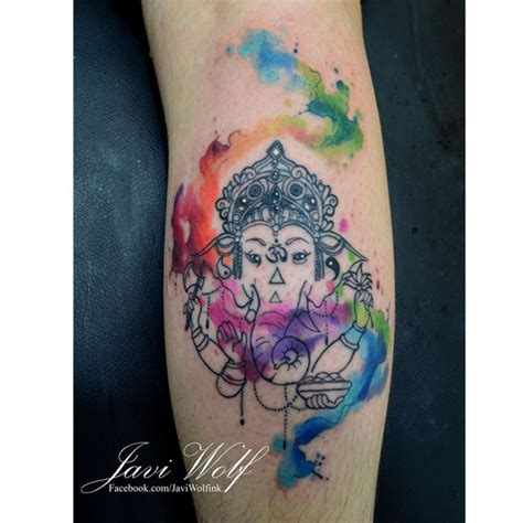 ganesha tattoo watercolor beautiful watercolor ganesha leg tattoo by javi wolf