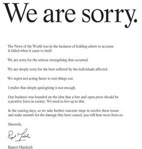 Apology Letter Sign Rupert Murdoch Places We Are Sorry Ad