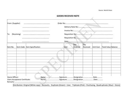material receipt form template image result for goods received note format