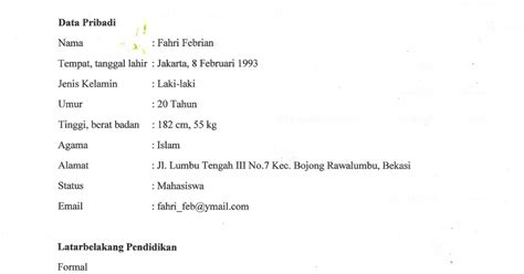 format biodata bahasa indonesia fahri febrian tugas bahasa indonesia 2 biodata