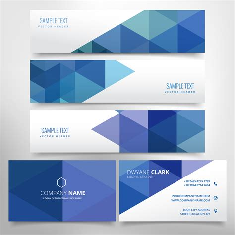 free header card templates abstract header and business card set free
