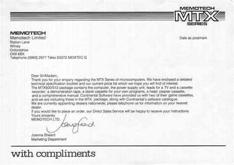 Acknowledgement Letter For Enquiry Memotech Mtx 512 Memotech Sales Literature