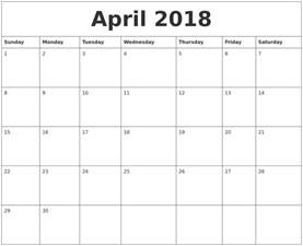 Calendar Of April 2018 April 2018 Calendar Pages