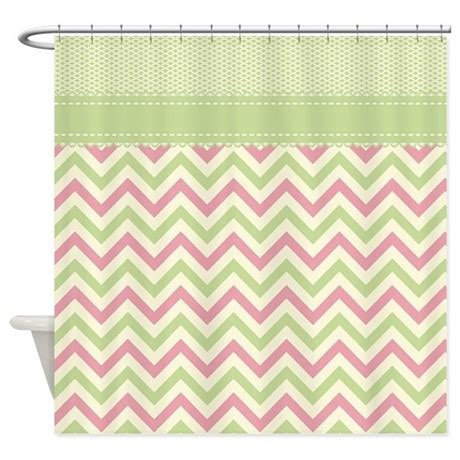 light green pink chevron with shower curtain by