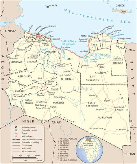 map of libya libyen kapital karte