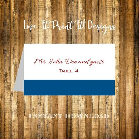 Table Card Template Wedding 5302 by Wedding Place Card Diy Template Instant Classic