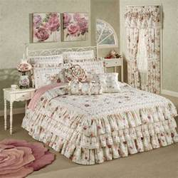 english rose floral ruffled grande bedspread