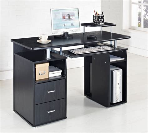 Black Computer Desk Table Furniture For Cool Black White Black Desks For Home Office