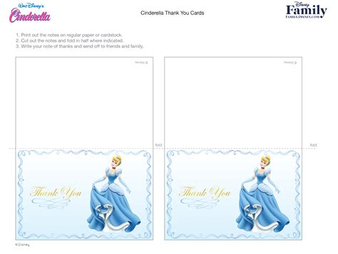 disney thank you card template cinderella thank you cards disney family