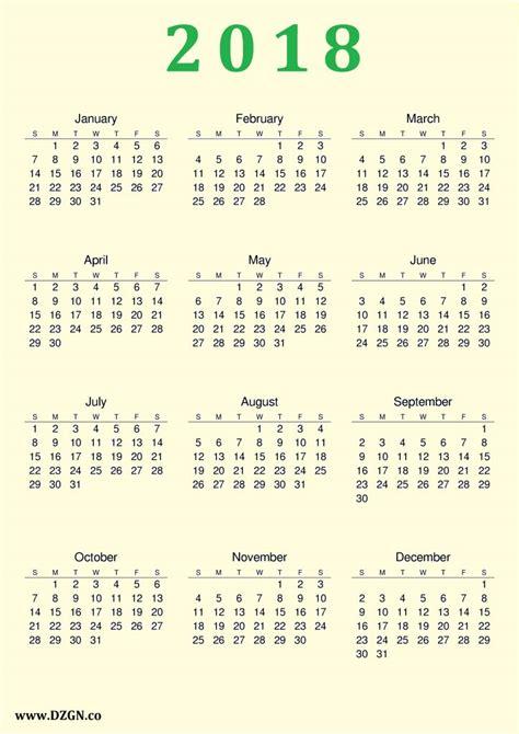 2018 Printable Calendar Free 2018 Calendar Printable Free Free Dzgn