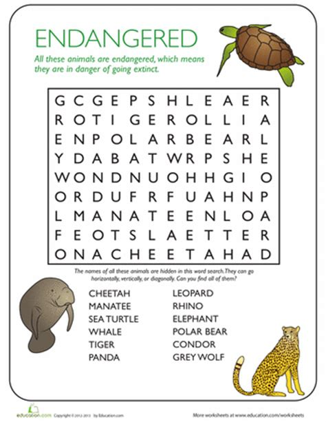 printable endangered animal fact sheets 10 animal crossword puzzles education com