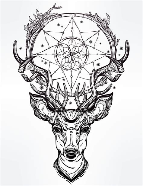 deer head and dream catcher stock vector illustration