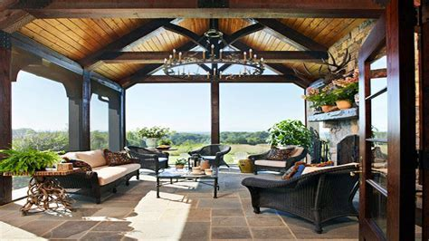 Decorating a screened porch, exposed beam porch ceiling