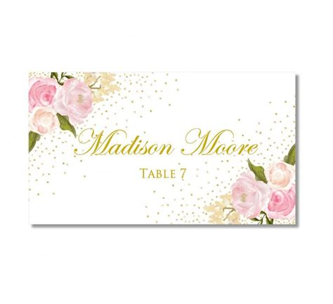 free floral place card template printable wedding place cards floral gold