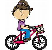 Girl Riding A Bicycle With Basket  Transportation Clip