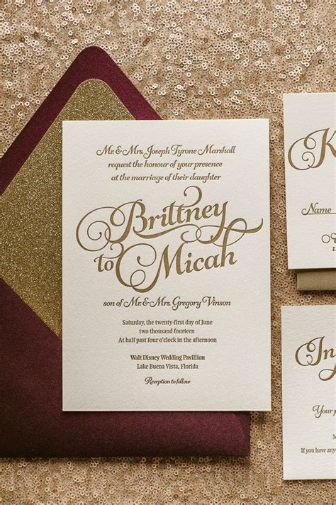 Wine And Gold Template Wedding Invitation Card Sle by Kathryn Suite Glitter Package Wedding Wedding Trends