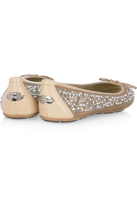 Flat Shoes Wanita Suede Lucuunikmurah lyst jimmy choo weber embellished suede ballet flats in