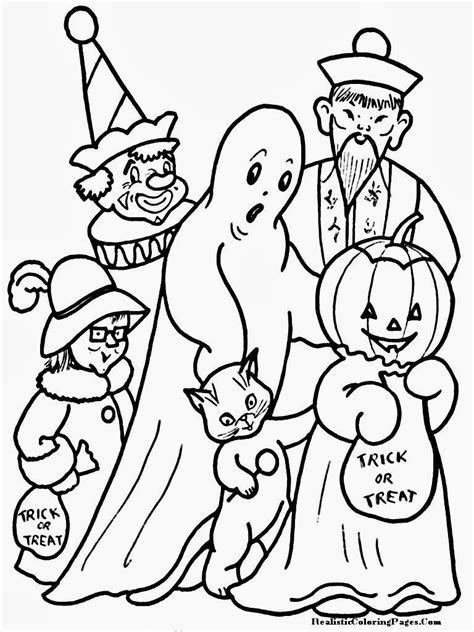 halloween coloring pages trick or treat happy halloween printable coloring pages realistic