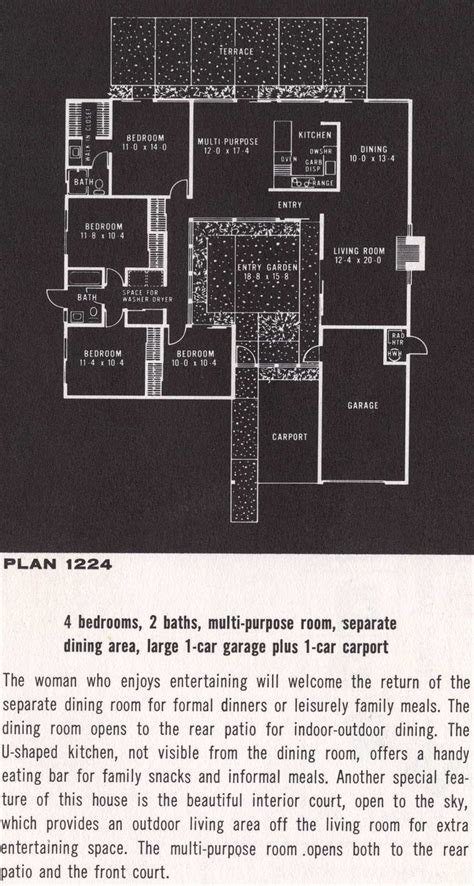 eichler plans eichler floor plan 1224 eichler homes pinterest