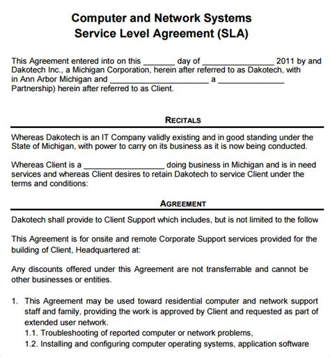 7 service agreement templates sle templates