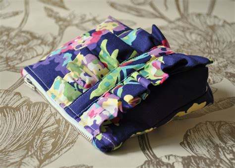 Handmade Makeup Bag - make up purse cosmetics bag purple abstract floral uk