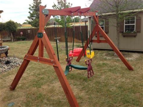 swing set  small yards wooden swing set