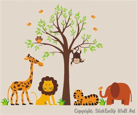 safari wall stickers tree and safari animal wall stickers 2017 grasscloth