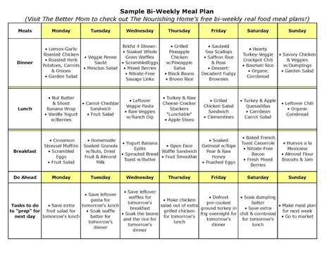 free printable diet meal planner 8 best images of printable weekly meal plan free