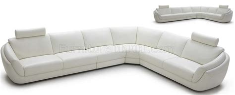 white italian leather modern sectional sofa w headrests