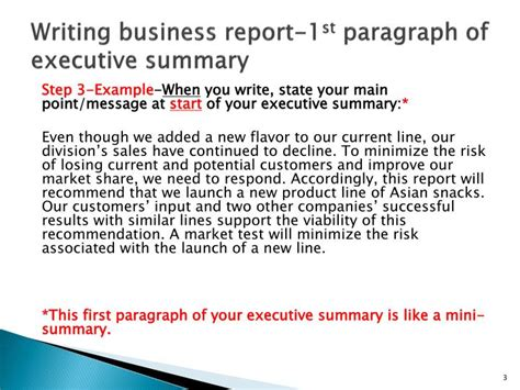 ppt writing business report 1 st paragraph of executive