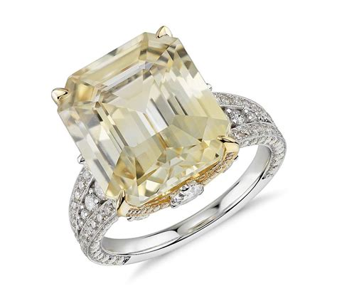 emerald cut yellow sapphire and ring in 18k white