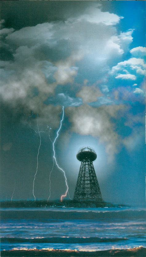 Tesla Wireless Power Tower Above Wardenclyffe Tower Tesla S Idea About Electrical