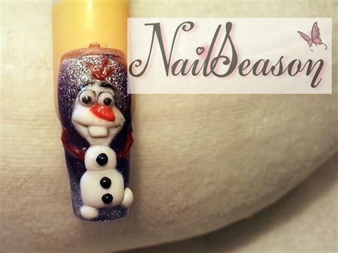 nail art olaf tutorial diy acrylic nails tutorial 3d disney olaf nail art frozen